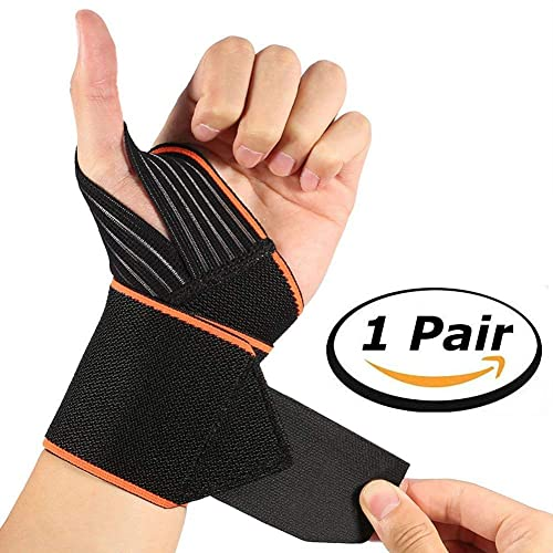 SGM Wrist Support Band Brace with Thumb Loops Straps for Men and Women - Pack of 2