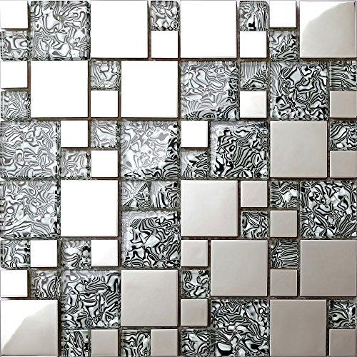 Piastrelle in vetro con effetto pellicola e mosaico in acciaio inox nero e argento 30 cm x 30 cm x 8 mm (MT0132)