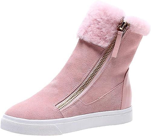 Qiusa femmes Plus Velvet Card Bottes de Neige à Talons Talons Hauts Chaussures de Sport (Couleuré   Rose, Taille   36EU)  détaillants en ligne