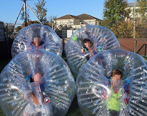 AmazingsportsTM 4Kugeln Bubble Fußball Bälle Anzug Billig Dia 5'1,5m für Erwachsene transparent PVC (1,2m 1,7m erhältlich)