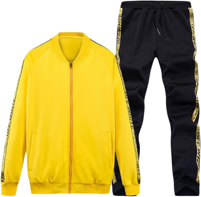Comfy Men's 2Piece Pure color Stand Up Collar ZipUp Tracksuit Set