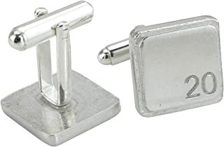 Square Cufflinks with '20' Engraved - 20th Anniversary