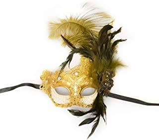 Venetian Goddess Masquerade Mask Made of Resin, Paper Mache Technique with High Fashion Macrame Lace & Rhinestones [Gold] by BeyondGlobalCorp