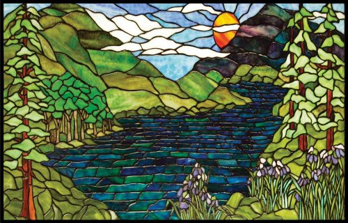 Mountains, River, Trees & Lavender Flowers - Vinyl Stained Glass Film, Static Cling Window Decal