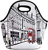 haoqianyanbaihuodian - Bolsas para almuerzo, diseño de calle negra de Piccadilly Buildings Londres, color rojo, blanco, neopreno, bolsa para almuerzo, bolsa de picnic portátil