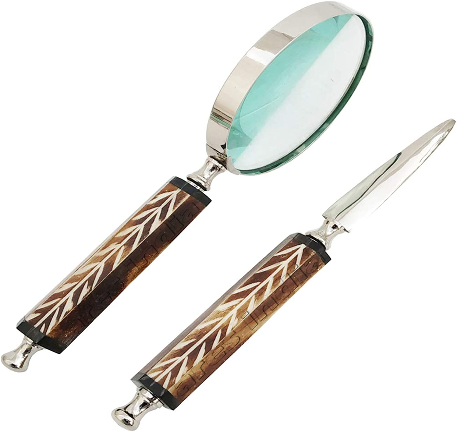 ARES INDIA Wooden Look Handle Brass Magnifying Glass with Letter Opener Magnifier