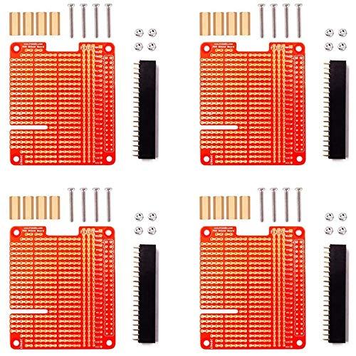 Timagebreze 4 Piezas GPIO Breakout DIY Breadboard PCB Shield Kit de Placa de ExpansióN Roja Compatible para Raspberry Pi 4 3 2 B + una +