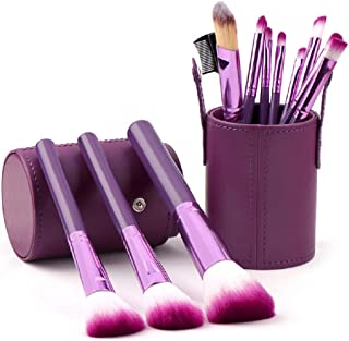 STELLAIRE CHERN Makeup Brush Set 12pcs Purple Synthetic Makeup Brushes Travel Set With Leather bucket Foundation Powder Contour Blush Eye Cosmetic Brush