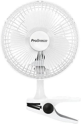 Pro Breeze Mini Ventilateur à Pince - 2 Vitesses, 15 cm - Petit, Portable, Silencieux - pour Maison, Table, Bureau
