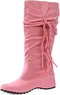 Creazrise Womens Round Toe Flat Faux Suede Moccasin Style Fringe MId Boot (Pink,8)