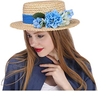 QinMei Zhou The Amerie Hat Flat Top Straw Fascinator w/Ivory Flower Wedding Bouquet Boater
