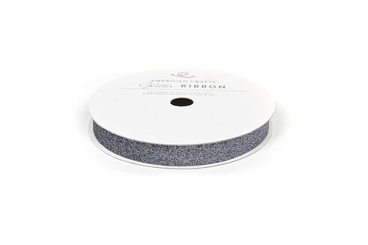 American Crafts Glitter Ribbon Strips, 3/8-Inch, Solid Slate
