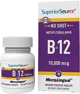 Superior Source No Shot Vitamin B12 Methylcobalamin 10000 mcg, Quick Dissolve Sublingual Tablets, 30 Count, Active Form of...