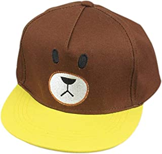 AMAZACER Baby Summer Cotton Cute Cartoon Embroidered Baseball Hat Visors Sun Cap (Color : Brown)