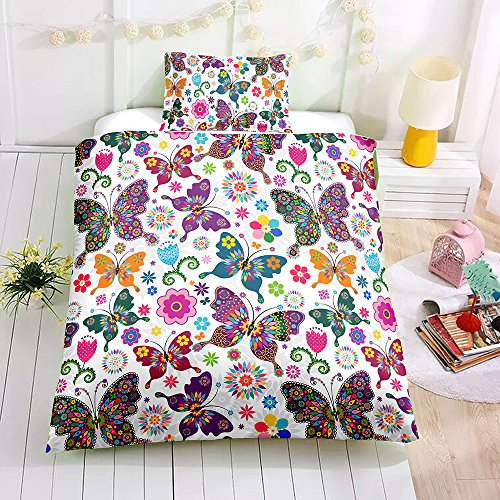 Butterfly Bedding Set for Kids Girls Duvet Cover Set Twin Size Decorative Colorful Butterflies Floral Pattern Microfiber Polyester Comforter Cover with 1 Pillow Shams, Zipper, Soft 2 Pieces