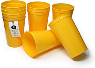 Rolling Sands 22 Ounce Reusable Plastic Stadium Cups Yellow, 8 Pack, Made in USA, BPA-Free Dishwasher Safe Plastic Tumblers