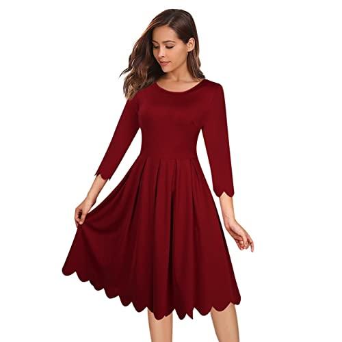 53afaccdca7 GlorySunshine Women s Vintage Scallop Pleated A Line Slim Fit Casual Cocktail  Party Dress