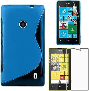 ebestStar – kompatibel med Nokia Lumia 520 fodral ultratunn S-line-fodral, mjuk flexibel silikongel, blått + härdat glas s...