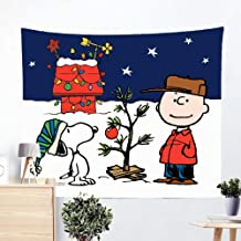 HDhomeputsc Snoopy Christmas Tapestry Charlie Brown Tapestry Wall Handing Living Room Bedroom Decoration Tapestry, Mattress, Tablecloth 60 L X 50 H Inches