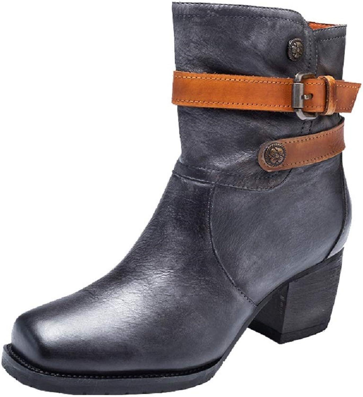 ZHRUI Buckle Stiefel Stiefel Stiefel Damen Leder Block Vintage Zipper Schuhe (Farbe   Grau, Größe   EU 40)  fe3a80