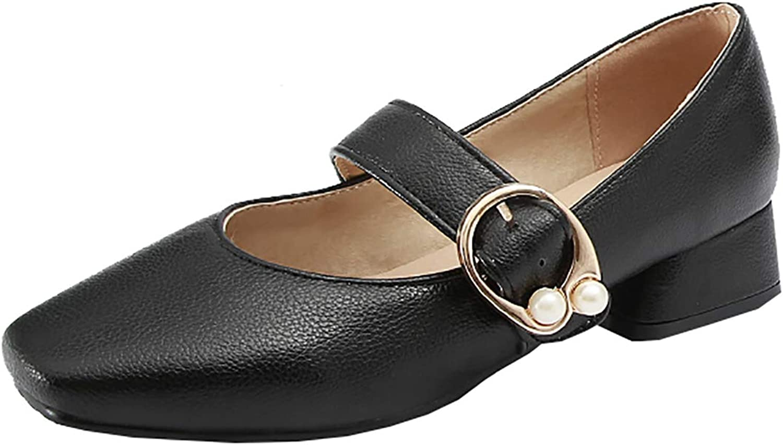 Artfaerie Womens Flat Mary Janes Buckle Low Block Heel Pumps Square Toe Comfortable Dress Court shoes
