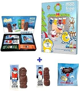 Moo Free Chocolate 2018 Advent Calendar + Selection Box Pack + 1 Dairy Free Santa + 1 Dairy Free Snowman | Christmas Vegan Gift Set |Stocking Filler| Festive Vegan Christmas Selection Pack