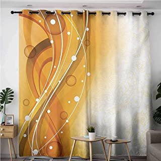 VIVIDX Curtains for Living Room,Orange Abstract Curves of Color with Bubble Like Dots Simple Floral Artistic,for Bedroom Grommet Drapes,W72x84L,Orange Dark Green White