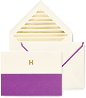 Kate Spade Dipped Initial Fold over Notes, H, Purple (1740H)