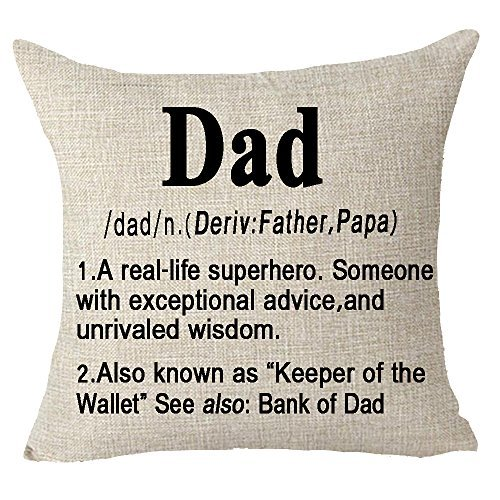 Pillow Cover Best wishes to superhero dad love you Throw Cushion Case Cotton Linen Material Decorative 18 x 18 inches