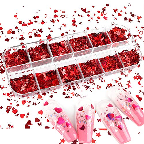 Red Valentine's Day Nail Art 3D Red Holographic Nail Sequins Lazer Butterfly Star Moon Assorted Pattern Flakes Glitter Heart Hollow Heart Shape Laser Flakes Sparkly Confetti