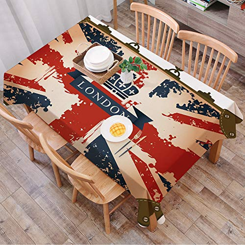 Tablecloth Rectangle Table Cloth Cotton Linen Wrinkle Free,Union Jack,Vintage Travel Suitcase with British Flag London Ribbon and ,Tablecloths Washable Table Cover for Kitchen Dinning Party 140x200 cm