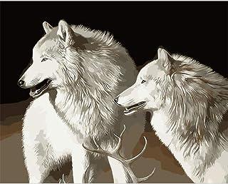 DIY数字油絵 白狼動物 大人の初心者のためのDIY油絵、キャンバス40x50cm絵筆とアクリル絵の具の描画、家の壁の装飾を使用 - フレームレス