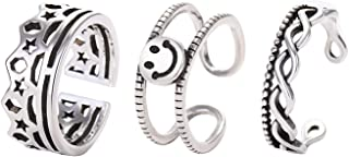 ZEINZE 3PCS Silver Stacking Twist Crown Smiley Adjustable Rings Set Perfect Jewelry Gift for Women