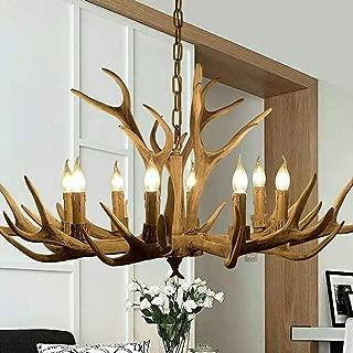 HSTWL Antler Chandelier 8 Light,Deer Horn Pendant Island Lighting Vintage Style Ceiling Lamp Amercian Rustic Antler Hanging Light for Living Room,Dining Room