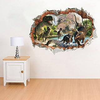 Dinosaurios en el Río Pegatinas Vista de Efecto 3D Efectos Especiales Ver Fuera de la Agrietada Pared Decorativos Calcomanías de Pared de Vinilo Extraíble para Sala de Estar, Dormitorio
