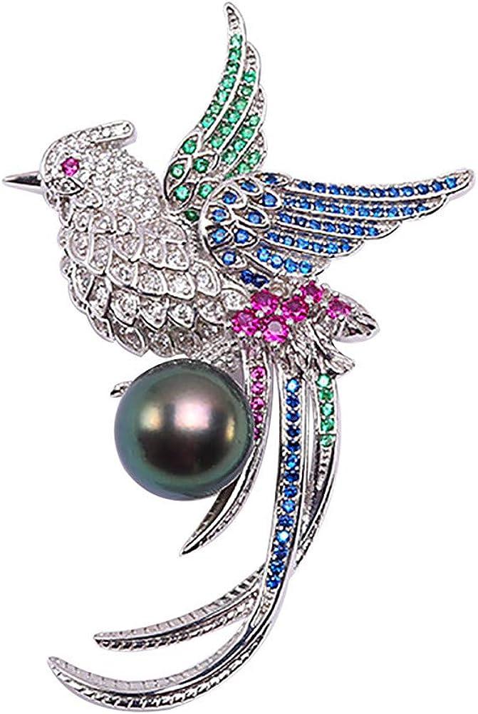 JYX Pearl Bird Style AAA+ 14mm Black Tahitian Pearl Brooch Pin Sweater Pearl Scarf Pin