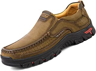 COSIDRAM Men Loafers Slip on Walking Shoes Fashion Driving Shoes Luxury Genuine Leather Brown Khaki Casual Sneakers Breathable Comfort Shoes for Male Business Work Office Dress