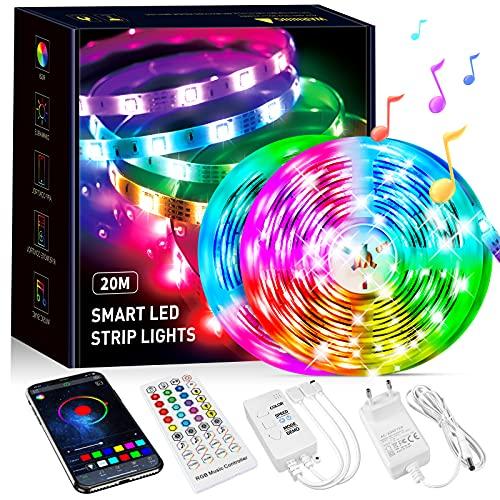Beaeet Striscia LED 20 Metri,Strisce LED RGB con APP Bluetooth e Telecomando,Strisce led Sincronizzazione Musicale,la Adatto per Interni ,Feste e per la Decorazioni per la Casa