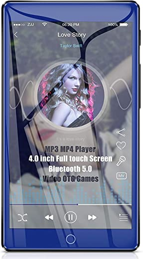 """Timoom M7 MP3 Player, Bluetooth 5.0 Full Touch 4.0"""" Screen 16GB MP4 HiFi Lossless Sound with Built-in Speaker FM Radio Video Voice Recorder E-Book..."""