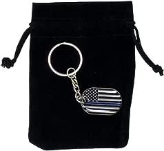 Thin Blue Line Police Keychain in Velvet Gift Pouch - Police Lives Matter