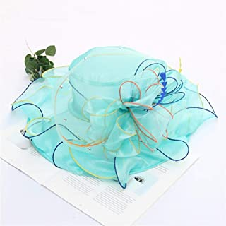 OULUOBA Spring woman covering her face Xiaou organza sunscreen beach hat sun hat flowers in Europe and America collapsible sun hat UV protection (Color : Light blue, Size : Adjustable)