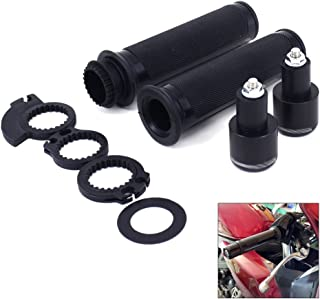 "JFG RACING 7/8"" Aluminum Rubber Handlebar Grips With Bar Ends Caps Plugs For Motorcycle BMW For Honda Kawasaki Suzuki Ducati Aprilia Triumph -Black"