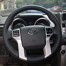 LSAUTO Steering Wheel Cover Black Color Nappa Genuine Leather Stitch On Wrap for Toyota Prado/Tacoma/Tundra / 4Runner /Sequoia Automotive Interior Accessories