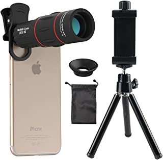 Cell Phone Camera Lens, Godefa 18X Zoom Telephoto Universal Clip On Lens Kit Compatible for iPhone 8/7/6S/6 Plus/5/4,Samsung, Android and Other Phones