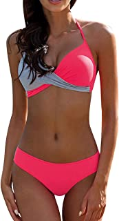 comprar comparacion Bikini Push Up Cuello Halter Triangulo Mujer Trajes de Baño de Dos Piezas Biquini Vikini Conjunto de Bikinis con Relleno S...