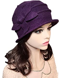 c549a03b439 YSJOY Flower 100% Wool Dome Bucket Hat Winter Cloche Hat Fedoras Derby Hat