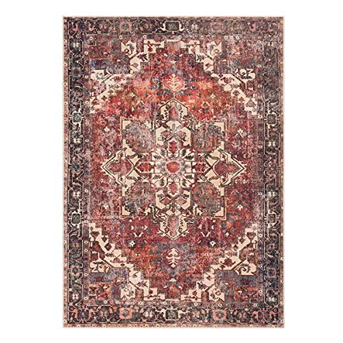 WEBTAPPETI.IT - Baku - Tapis de salon vintage, classique, lavable, rouge, 80 x 150 cm