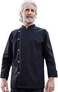 Men's Chef Coat Single-Breasted Front Placket Opening Long Sleeve Chef Jacket