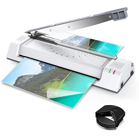 ABOX Laminator OL381C, A3 A4 Laminator Machine 5 in 1 Thermal Laminating Machine with Jam Release Switch, ABS Function, Corner Rounder, 16 Laminating Pouches for Home, Office and School