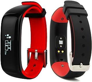 IP67 - Pulsera inteligente impermeable con monitor de ritmo cardíaco, presión arterial, Bluetooth, podómetro para Android e iOS (rojo)
